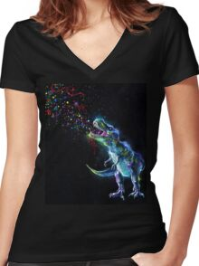 Crystal T-Rex Women's Fitted V-Neck T-Shirt