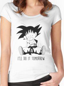 Goku sleeping Women's Fitted Scoop T-Shirt