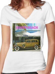 SOUTH BEACH TRANSPORTATION Women's Fitted V-Neck T-Shirt