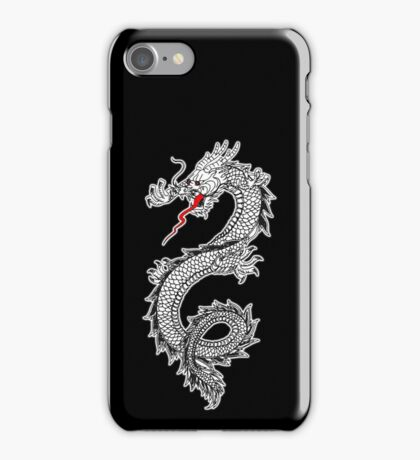 Dragon, Snake, Tattoo, Symbol, Chinese, Oriental, Far East, on Black iPhone Case/Skin