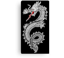 Dragon, Snake, Oriental, Far East, on Black Canvas Print