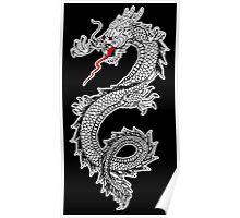 Dragon, Snake, Oriental, Far East, on Black Poster