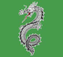 Dragon, Snake, Tattoo, Symbol, Chinese, Oriental, Far East, on Black Kids Tee
