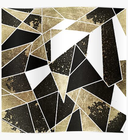 Modern Rustic Black White and Faux Gold Geometric Poster