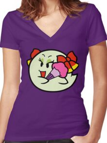 Paper Mario Lady Bow Boo Women's Fitted V-Neck T-Shirt