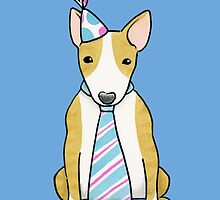 Party Hat Puppy Dog - English Bull Terrier by Zoe Lathey