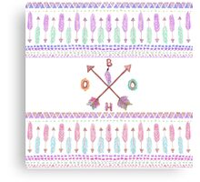 Boho Typogrpahy Tribal Aztec Feather Arrow Pattern Canvas Print