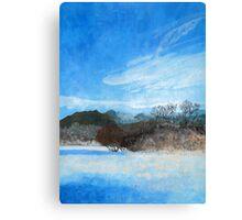 Blue Landscape Acrylic Painting Canvas Print