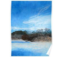 Blue Landscape Acrylic Painting Poster
