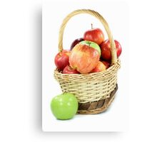 Fall apples assorts in basket Canvas Print