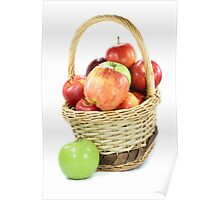 Fall apples assorts in basket Poster