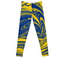 Blue & Yellow Paint Swirl Leggings