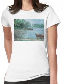 Danube Delta Landscape Acrylic Painting Womens Fitted T-Shirt