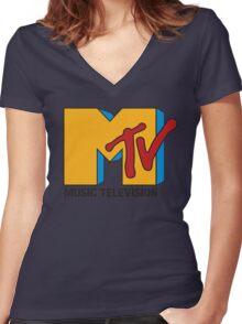 MTV 90's Logo Women's Fitted V-Neck T-Shirt