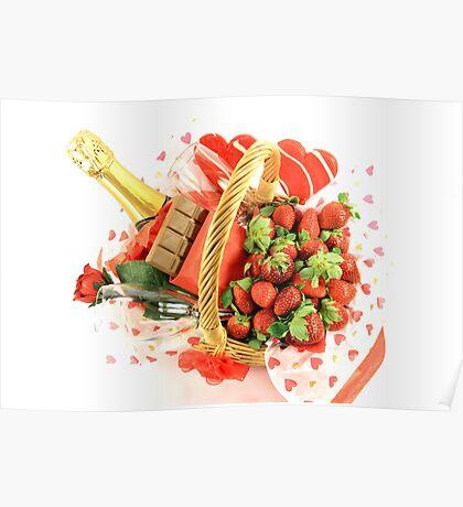 Happy Valentines Day Basket Poster