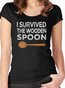 I survived the Wooden Spoon Funny Birthday Gift Women's Fitted Scoop T-Shirt