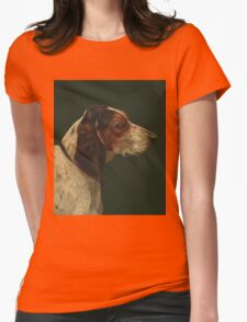 Reproduction vintage dog painting Womens Fitted T-Shirt