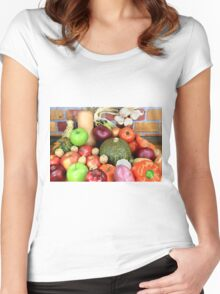 Vegetables and Fruits. Women's Fitted Scoop T-Shirt