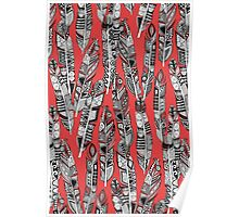 geo feathers red Poster