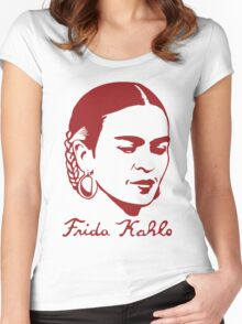 Frida Kahlo Tshirt with Real Signature Women's Fitted Scoop T-Shirt