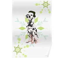 Dalmatian in a Santa Hat Holiday Dog Poster