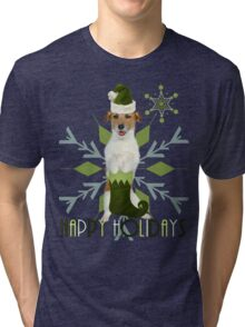 Jack Russell Terrier Holiday Dog Tri-blend T-Shirt
