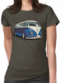 VW Bus Cool Blue Womens Fitted T-Shirt