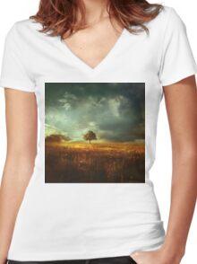 sunset landscape Women's Fitted V-Neck T-Shirt
