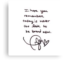 Taylor Swift Handwritten Quote Canvas Print