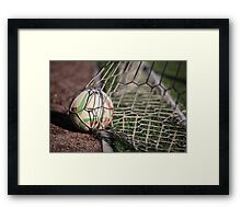 soccer ball in net Framed Print