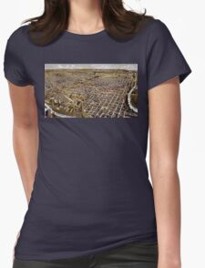 Perspective map of Fort Worth, Texas - 1891 Womens Fitted T-Shirt