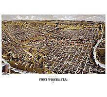 Perspective map of Fort Worth, Texas - 1891 Photographic Print