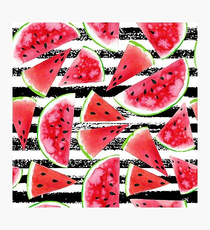 Watercolor watermelons Photographic Print