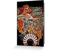 Nouveau Woman Swirling Hair Greeting Card