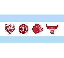 Chicago Sports Flag Photographic Print