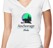 Anchorage, Alaska Women's Fitted V-Neck T-Shirt