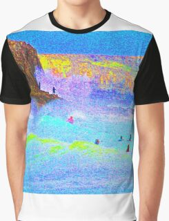Psychedelic Surf with Alien on a rock. Graphic T-Shirt