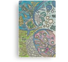 Abstract  Underwater Jellyfish Drawing Canvas Print