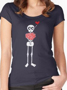 Peter the Skeleton - Roses Women's Fitted Scoop T-Shirt