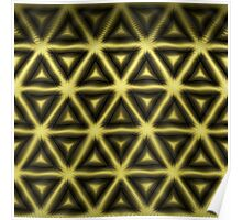 Gold and Dark Hexagon in Tribal Design Poster