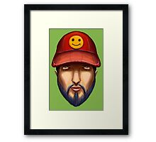 Bearded Man With a Red Cap Yellow Smiley Framed Print