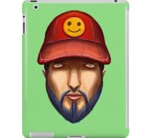 Bearded Man With a Red Cap Yellow Smiley iPad Case/Skin