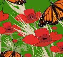 Poppies and butterflies (2891 Views) Sticker