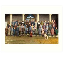 Colorized Students & faculty of a Catholic School 1920 Art Print