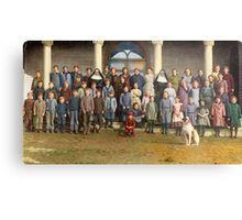 Colorized Students & faculty of a Catholic School 1920 Metal Print