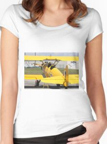 Boeing Stearman PT-27 Kadet single engine trainer back view cockpits and tail. Women's Fitted Scoop T-Shirt