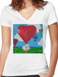 Bunny Anytime Valentines-Design One Women's Fitted V-Neck T-Shirt