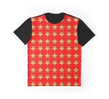 Metallic Gold Stars on Bright Red Background Graphic T-Shirt