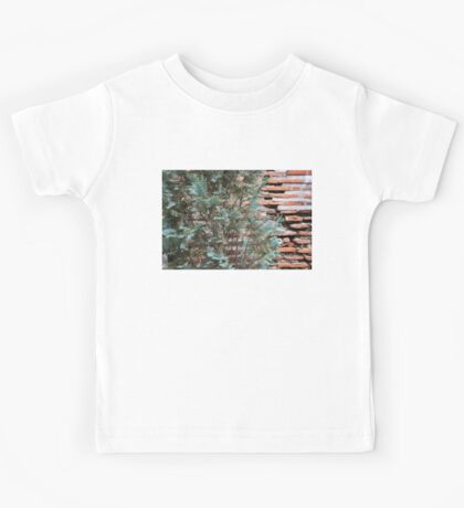 Green and Red - Cypress Branches Over Antique Roman Brick Wall Kids Tee
