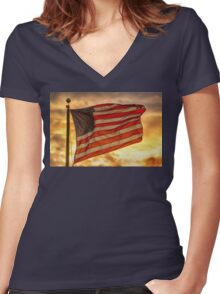 American Sunset On Fire Women's Fitted V-Neck T-Shirt
